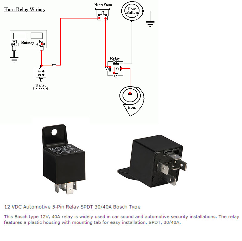 5 Pin Horn Relay Diagram - Technical Diagrams Horn Wiring Diagram With Relay on