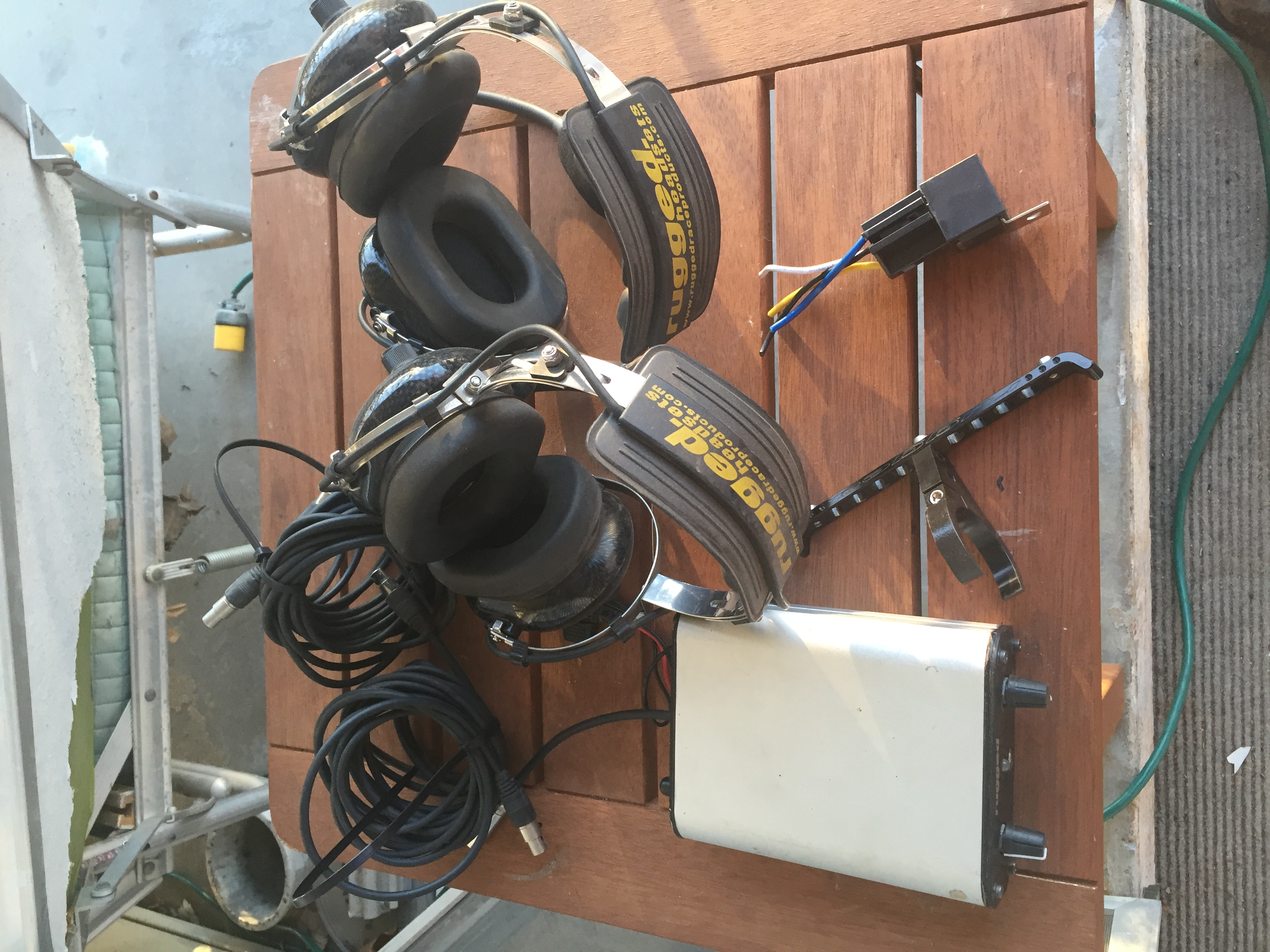 Rugged Radio with headsets, cables, relay & hanger