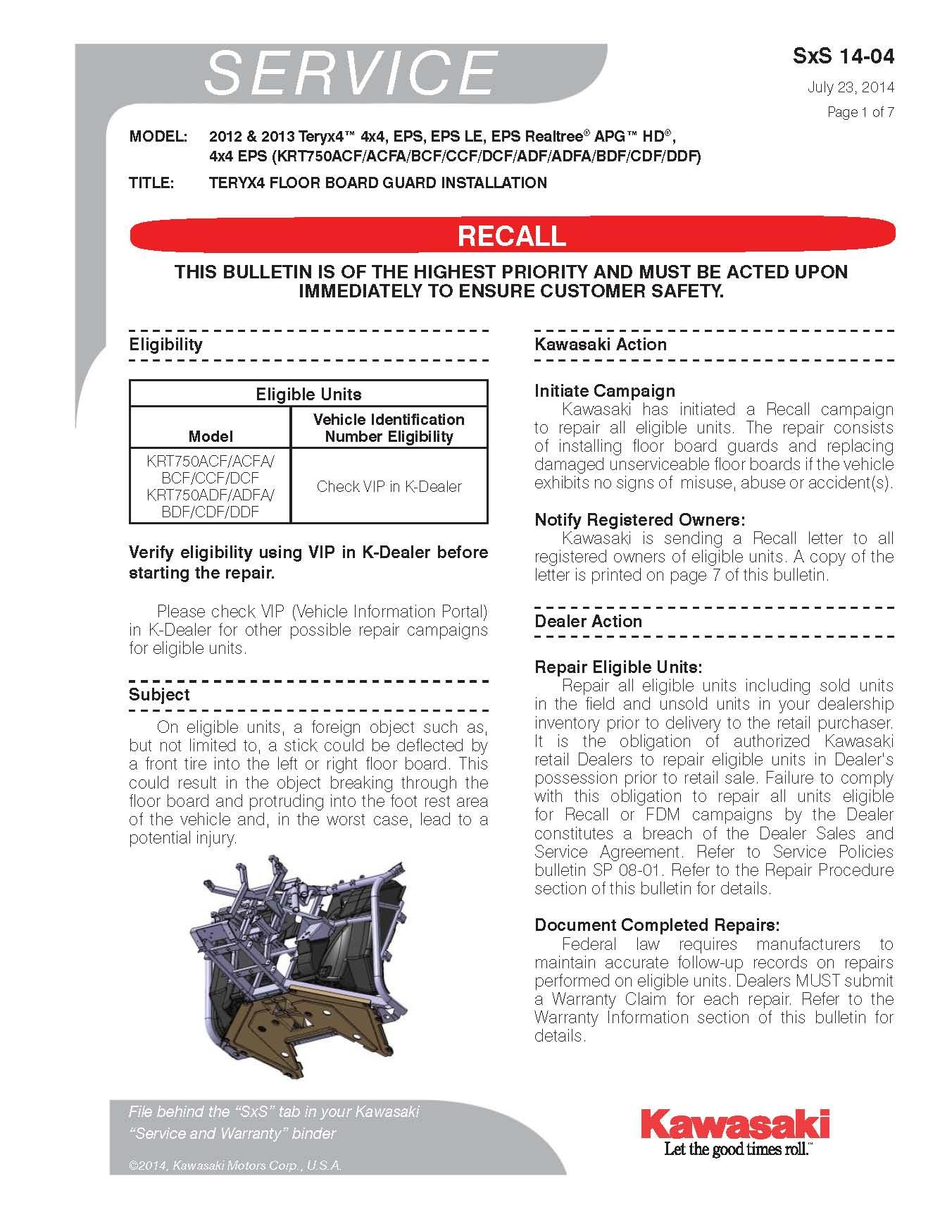 Kawasaki Teryx Recall